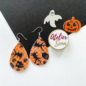 Halloween Tear Drop Earrings - Orange